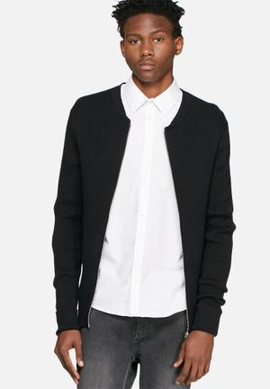Selected Homme Ruben Zip Bomber Knitwear Black