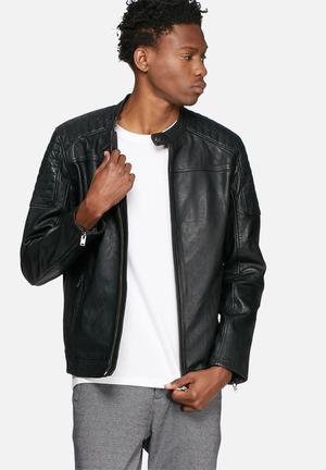 Selected Homme London Leather Jacket Black