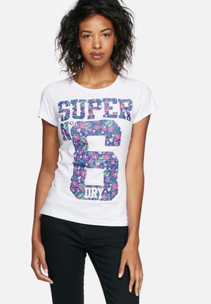 Superdry. Number 6 Festival Tee T-Shirts, Vests & Camis White, Navy, Pink & Green