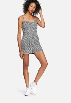 Superdry. Holiday Print Playsuit Black & White