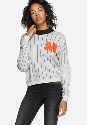 Noisy May Tune Knit Knitwear White, Grey & Orange