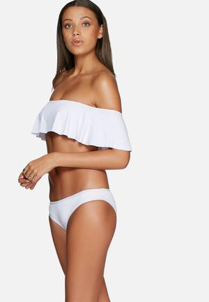 MSH Off The Shoulder Bikini Bottom Swimwear White