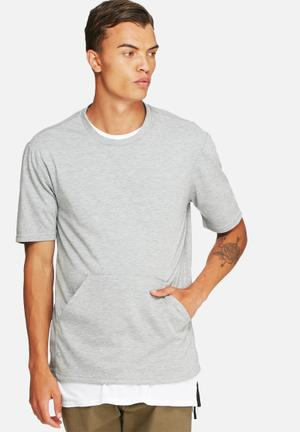 Basicthread Kangaroo Pocket Boxy Tee T-Shirts & Vests Grey