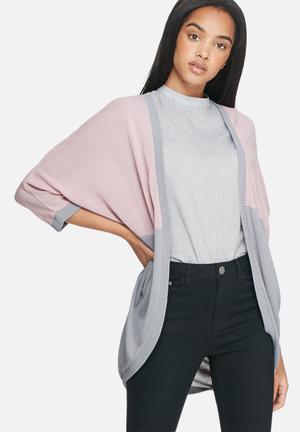 Dailyfriday Lucie Cocoon Cardigan Knitwear Grey & Pink