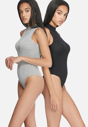 Dailyfriday High Neck Bodysuit - 2 Pack T-Shirts, Vests & Camis Grey & Black