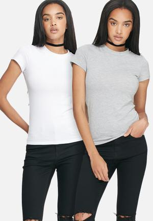 Dailyfriday Crew Neck Tee - 2 Pack T-Shirts, Vests & Camis White & Grey