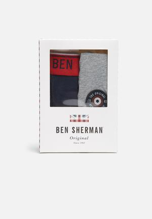 Ben Sherman 2 Pack Trunks Underwear Grey / Navy / Red