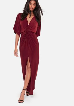 Missguided Kimono Maxi Dress Occasion Burgundy