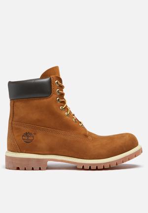"Timberland Icon 6"" Premium Boot Black & Rust Print"
