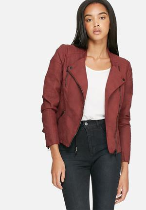 ONLY Ava PU Biker Jacket Burgundy