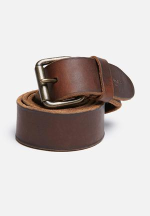 Jack & Jones Footwear & Accessories Jakob Leather Belt  Dark Brown