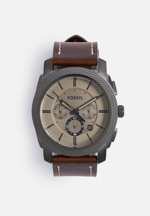 Fossil Machine Smoke Watches Gunmetal With Brown Strap