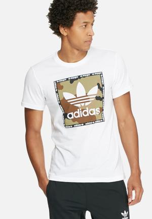 Adidas Originals Camo Box Tee T-Shirts White, Black, Brown & Green