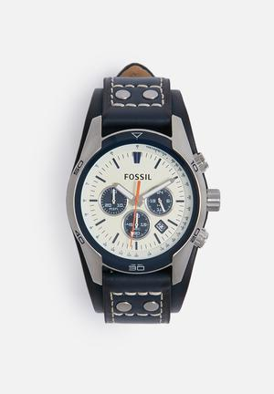 Fossil Coachman Leather Watch Navy