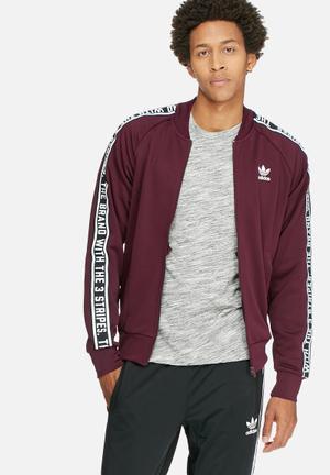 Adidas Originals ES  Tracktop Hoodies & Sweatshirts Maroon, White & Black