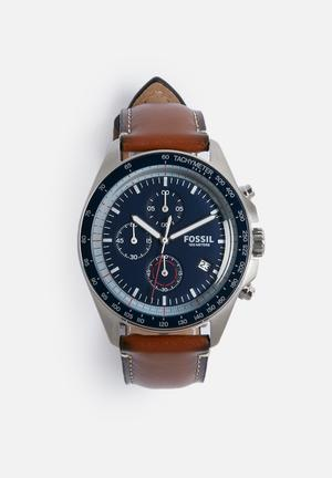 Fossil Sport 55 Watches Blue With Brown Strap