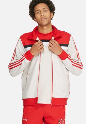 Adidas Originals 83-C Tracktop Hoodies & Sweatshirts Red, White, Black & Beige