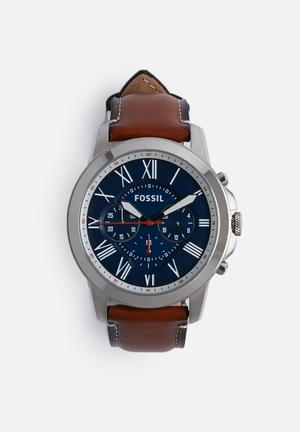 Fossil Grant Watches Blue With Brown Strap