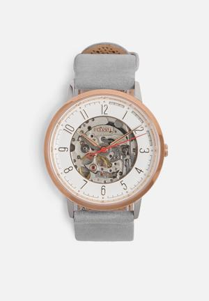 Fossil Vintage Muse Watches Rose Gold With Grey Strap