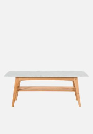 Sixth Floor Oia Marble Rectangular Coffee Table Solid Oak Base, Carrara Marble Top