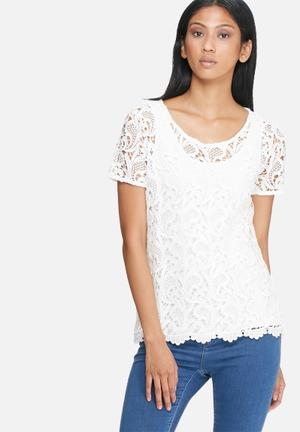 ONLY Sossi Crochet Top Blouses White