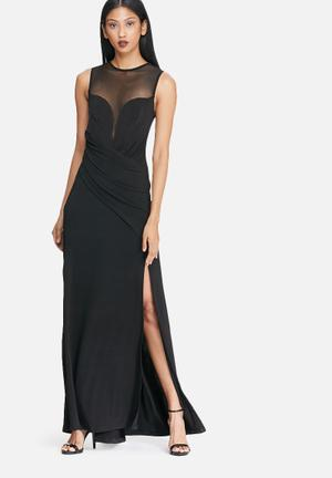 Dailyfriday Black Draped Maxi Dress Occasion Black