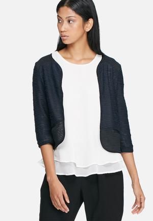Vero Moda Minna Sweat Cardigan Knitwear Navy & Black