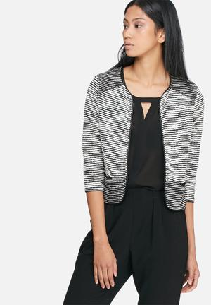 Vero Moda Minna Sweat Cardigan Knitwear Black & WHite