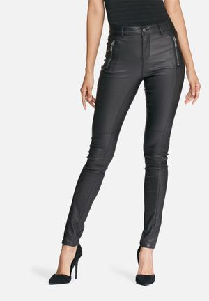 Vero Moda Seven Maggie Coated Pants Trousers Black