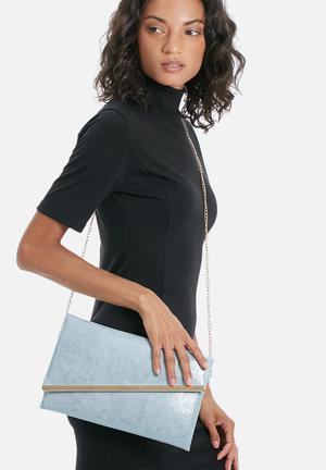 Dailyfriday Mono Clutch Bags & Purses Light Blue & Gold