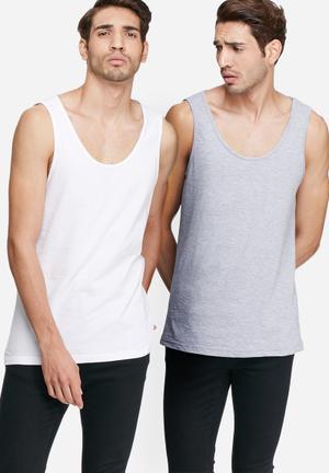 Basicthread Basic Vest 2 Pack White & Grey Melange