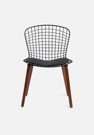 Eleven Past Replica Bertoia Chair  Powder Coated Steel & Wood