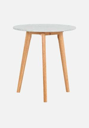 Sixth Floor Oia Marble Lamp Table Solid Oak Base, Carrara Marble Top