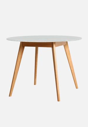 Sixth Floor Oia Marble Dining Table Solid Oak Base, Carrara Marble Top