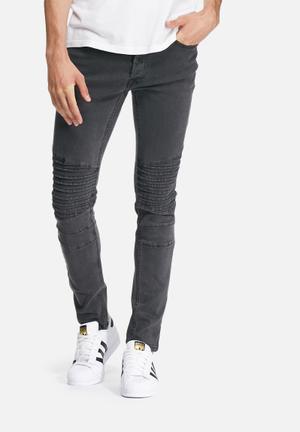 Only & Sons Loom Slim Biker Denims Jeans Dark Grey