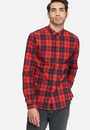 Only & Sons Sven Slim Shirt Red & Black