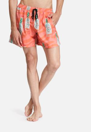 The Lot Surf's Up Swim Shorts Swimwear Orange, Red & Green