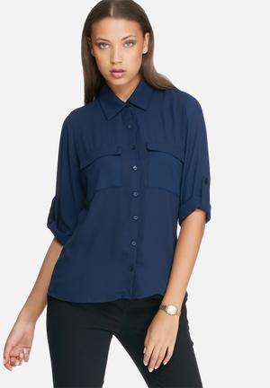 Dailyfriday Split Back Shirt Navy