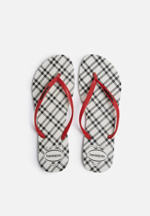 Havaianas Slim Retro Sandals & Flip Flops Black, Red & White