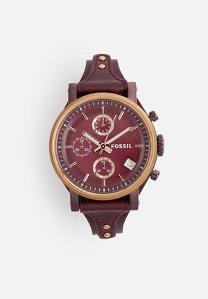 Fossil Original Boyfriend Watches Burgundy