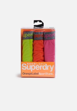 Superdry. 3pack Boxer Underwear Green, Pink & Orange