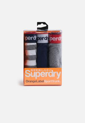Superdry. 3pack Boxer Underwear Grey, White, Red & Navy