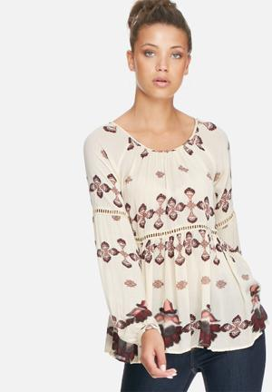 VILA Sanfran Top Blouses Cream, Pink, Purple & Grey