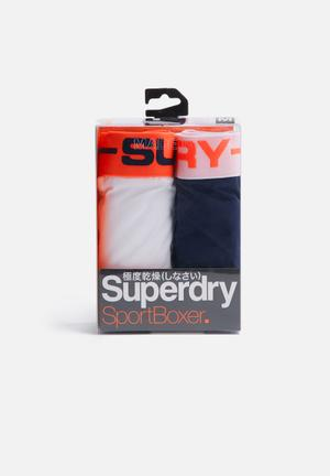 Superdry. 2pack Boxer Underwear White, Navy & Orange