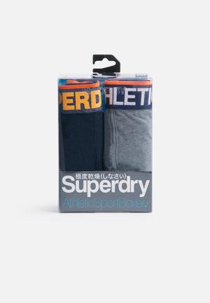 Superdry. 2pack Boxer Underwear Navy, Grey & Orange