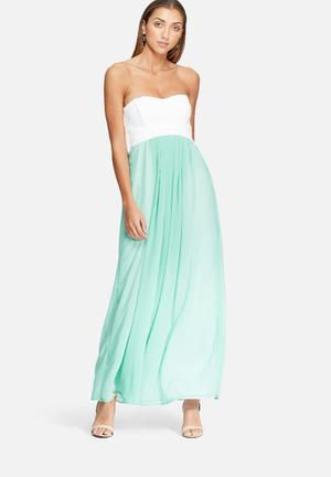 Dailyfriday Strapless Lace Gown Occasion Cream & Green