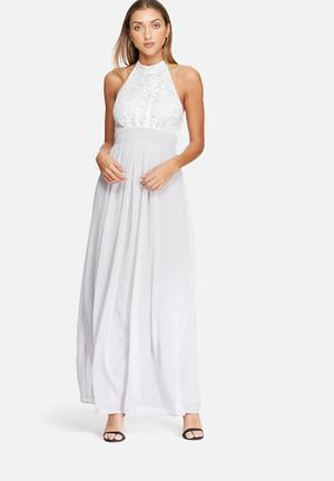 Dailyfriday Halter Neck Lace Gown Occasion Silver & White