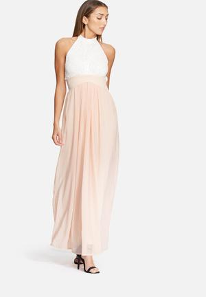 Dailyfriday Halter Neck Lace Gown Occasion Nude & White