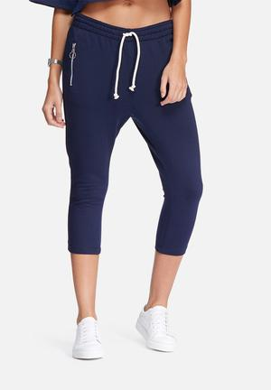 Dailyfriday Cropped Zip Pocket Joggers Bottoms Navy