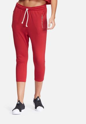 Dailyfriday Cropped Zip Pocket Joggers Bottoms Red